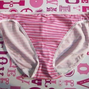 Felina Pink Stripe Modal High Cut Leg Bikini Panty
